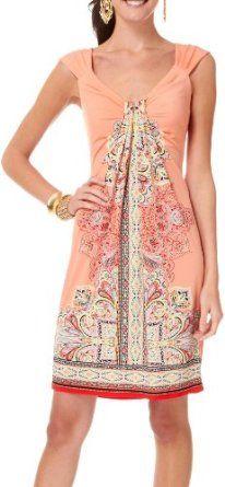 London Times Gathered Front Batik Print Dress:Sale: $36.00