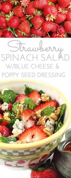 Strawberry Spinach Salad Recipe. A beautiful salad with contrasting greens and brilliant berries. Create the sweet, tangy, homemade dressing in the blender.