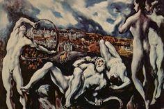 Laocoonte | El Greco | Es una de las pocas obras mitológicas del Greco, quien era eminentemente un pintor religioso. Aquí representa la historia y el castigo de Laocoonte a manos del dios Poseidón. Para obtener la impresión de violencia, el pintor aplica fuertes escorzos. Al fondo de la escenapodemos apreciar un paisaje de Toledo, y no de Troya como se creía, pues según la tradición fue fundada por dos descendientes de los troyanos Telamón y Bruto. La violencia y el dramatismo de la obra…