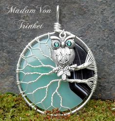 Wire Wrapped Owl in Tree with Green Agate by MadamVonTrinkets