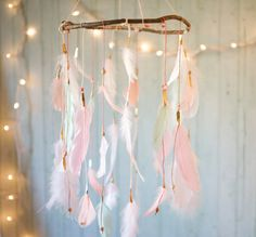 Dreamcatcher-Mobile Koralle Pink und Mint von DreamkeepersLLC
