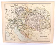 Austria, 19th Century Map of Austria, Vintage Map of Austria-Hungary, Map of Hungary, 1880s, Antique, History Buff, Home Decor, Office Decor by PeonyandThistlePaper on Etsy https://www.etsy.com/listing/161842864/austria-19th-century-map-of-austria