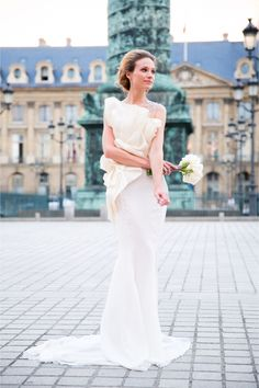 Paolo Corona wedding dress   One and Only Paris Photography   http://burnettsboards.com/2013/12/candlelit-parisian-elopement/