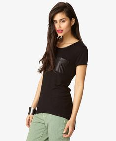 Faux Leather High-Low Tee   FOREVER21 - 2027706209