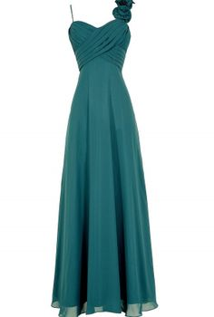 Rosette On My Shoulder Chiffon Maxi Dress in Teal  www.lilyboutique.com