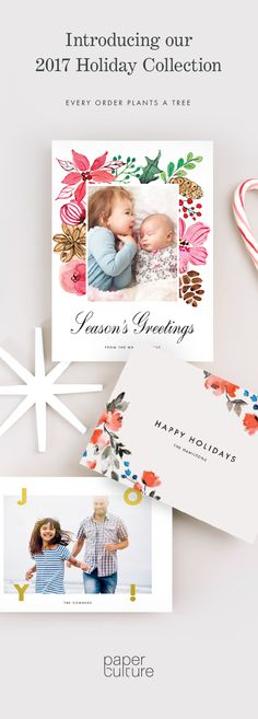 Enjoy 40% off our modern and eco-friendly holiday cards. We use sustainable materials, operate a carbon-neutral business and plant a tree with every order. Offer ends 12/17/17.