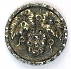 Antique Steel Cup Button Cut Steel Grapes & Brass Grape Leaves Design