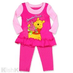 Winnie the Pooh Girls Long Sleeve Top and Polka Dot Print Pants Set for Little Girls. #Disney #BabyClothes