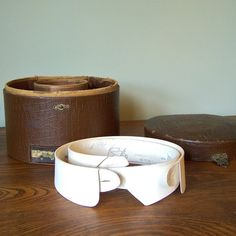 Antique Victorian men's shirt collar box and collars I purchased on Etsy.
