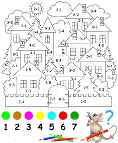 Educational page with exercises for children on addition and subtraction. Need to solve examples and to paint the image in relevant colors. Developing skills for counting. Math Coloring Worksheets, Kindergarten Math Worksheets, Teaching Math, Preschool Activities, Activities For Kids, First Grade Math, Math For Kids, Exercise For Kids, Cartoon Download