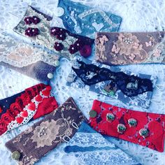 What to do with leftover denim, lace & buttons?  I decided to make denim cuff bracelets! Some have cat, butterfly or bee trims on various laces. A fun summer accessory for yourself or someone special; or a country bride with matching cuffs for bridesmaids