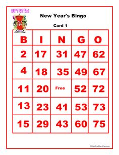 New Years Bingo Game