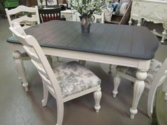 """This was done in graphite and old white with """"pastoral toile"""" fabric from the Annie Sloan Fabric collection"""