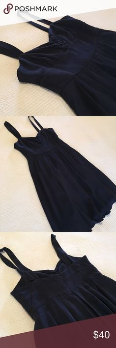 J. Crew Rebecca dress J. Crew special occasion dress. Empire waist with a pleated skirt. In great condition. 100% navy silk, fully lined. Last pictures used to show fit. J. Crew Dresses Midi