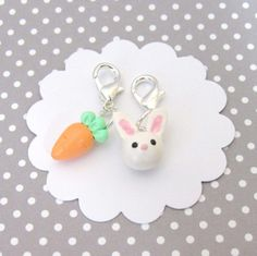 Bunny and Carrot Charms, Bunny Charm, Stitch Markers, Food Charm, Easter Charm, Planner Charm, Progress Keeper, Polymer Clay Charm, Rabbit