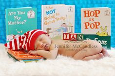 His nursery has a Dr. Seuss theme and who doesn't have Dr. Seuss books laying around their house?  Little secret...the book in the middle is not a Dr. Seuss  book but the title went so well with the picture   -  Colorado Springs newborn photography Jennifer McCansless Photography