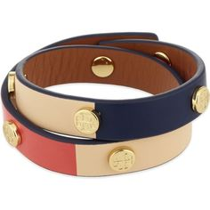 TORY BURCH Double wrap bracelet ($125) ❤ liked on Polyvore featuring jewelry, bracelets, studded wrap bracelet, leather jewelry, leather bangle, studded jewelry and tory burch jewelry