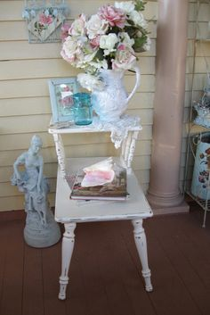 Shabby chic vintage End table side table Telephone by Fannypippin, $59.00