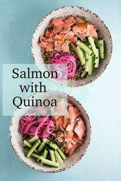 Salmon with Gingered Quinoa. An easy and healthy grain bowl recipe featuring salmon, quick pickled onions, cucumbers and gingered quinoa. #grainbowls #quinoa #salmon #healthyrecipes #easyhealthyrecipes #donnahay