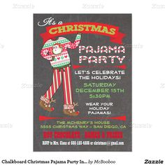 Christmas Pajama Party InvitationDigital Printable Pj Party By