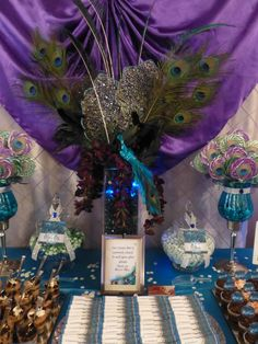 Peacock Wedding Candy Buffet #peacock #candybuffet