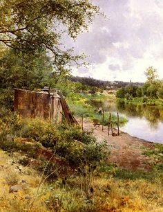 On The River Bank - Emilio Sanchez Perrier - oil painting reproduction Spanish Painters, Spanish Artists, Great Paintings, Landscape Paintings, Vancouver Art Gallery, River Bank, Traditional Landscape, Natural Scenery, Oil Painting Reproductions