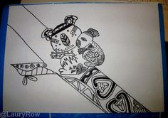 My Koala Zentangle by @LauryRow   Like my page here :: https://www.facebook.com/merveillesdetentesdelaury