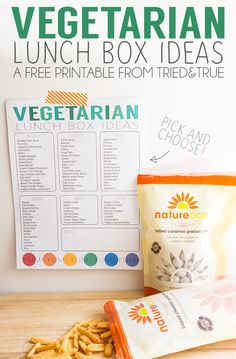 Looking for vegetarian lunch box options? Naturebox and this free printable Vegetarian Lunch Box Ideas are the perfect pair!