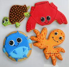 Beach creatures Painted Cookie Designs is so cute!