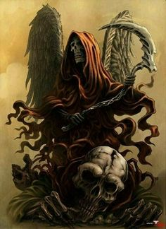 Image in santa muerte collection by Toñi on We Heart It Grim Reaper Art, Don't Fear The Reaper, Dark Fantasy Art, Dark Art, Reaper Tattoo, Death Tattoo, Bild Tattoos, Arte Horror, Dark Angels