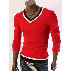 15.4$  Buy now - http://difgk.justgood.pw/go.php?t=199211608 - V-Neck Color Block Long Sleeve T-Shirt