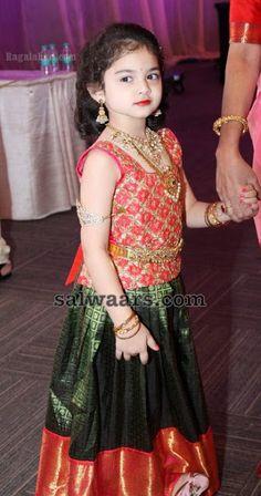 Baby in Green Kanjeevaram Silk Lehenga - Indian Dresses Frocks For Girls, Dresses Kids Girl, Girl Outfits, Baby Dresses, Kids Indian Wear, Kids Ethnic Wear, Kids Dress Wear, Kids Gown, Kids Wear