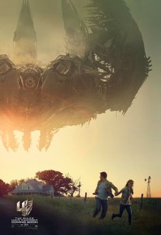 Transformers: Age of Extinction poster, Cade Yeager (Mark Wahlberg) and his daughter (Nicola Peltz) running for their lives