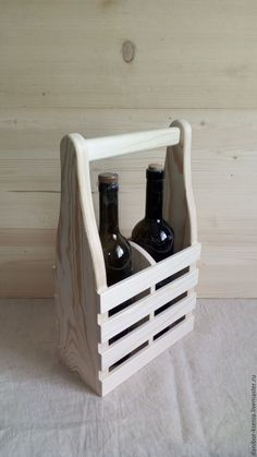 Diy Wood Projects, Wood Crafts, Woodworking Projects, Wooden Wine Holder, Wood Packaging, Wine Carrier, Wooden Basket, Beer Opener, Bottle Holders