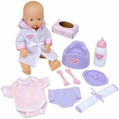 You & Me Baby Goes Potty by VIPtrades. $14.99. CHOKING HAZARD - Small parts. Not for children under 3 yrs.. Recommended Age: 3 - 9 years. Teach baby how to use the bathroom with this Baby Goes Potty doll from You & Me! This doll drinks from her water bottle with help from you. When she has to go potty, she uses her cute purple toilet, which makes realistic tinkling sounds. Baby also comes with a soft bathrobe, a diaper, a towel, a box of wipes and a pair of booties. 3 butto...