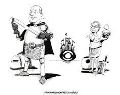"""OÖN-Karikatur vom 03. August 2016: """"Turniervorbereitungen"""" Mehr Karikaturen auf: http://www.nachrichten.at/nachrichten/karikatur/ (Karikatur: G. Mayerhofer)"""