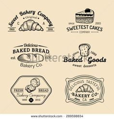 Vector set of vintage bakery logos. Retro emblems collection with sweet cookie: biscuit, cupcake, muffin, croissant. Hipster pastry icons. Desert elements. Loaf and bread isolated.