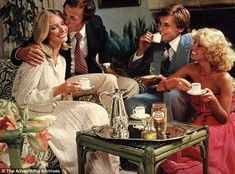 Coffee time: Bad perms and wide lapels were the fashions of the day - and instant coffee was all the rage