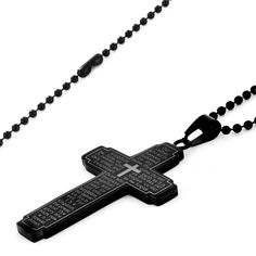 West Coast Jewelry Men's Stainless Steel Lord's Prayer Cross Necklace (Black), Size: 24 Inch