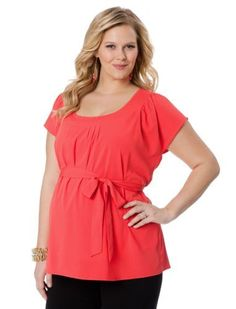 Motherhood Maternity: Plus Size Short Sleeve V-neck Sash Belt Maternity Blouse Motherhood Maternity. $29.98