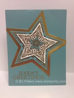 On sale this month is the Bright & Beautiful stamp set (a sneak peak from the holiday catalog) and the stars framelits in a limited time bundle! Details on my blog; http://www.stampinbj.com/2014/08/bright-beautiful.html