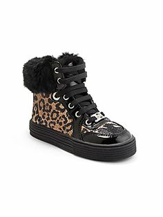 Kors Kids Toddler's & Little Girl's Faux Fur High-Top Sneakers