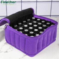 Finether 30-Bottle Essential Oil Carrying Holder Case Perfume Oil Portable Travel Storage Box Nail Polish Organizer Storage Bag