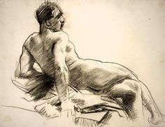 John Singer Sargent (1856-1925) - Reclining Male Nude Seen from Behind, c. 1890 - 1915 - Drawing (charcoal on off-white laid paper), Album Page - Harvard Art Museums/Fogg Museum, Department of Drawings
