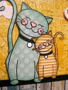 Gatos street art two cats I Love Cats, Crazy Cats, Cool Cats, Gatos Cats, Cat Quilt, Cat Colors, Cat Crafts, Cat Drawing, Whimsical Art