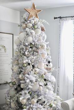 Holiday Home Tour 2018 Elegant Christmas Trees, Silver Christmas Decorations, Christmas Tree Themes, Noel Christmas, Modern Christmas, Pink Christmas, Flocked Christmas Trees Decorated, Christmas Tree Inspiration, Advent