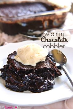 Warm Chocolate Cobbler features moist chocolate cake floating on top of a caramel-streaked, coffee-laced, molten chocolate sauce. Just Desserts, Delicious Desserts, Dessert Recipes, Yummy Food, Bon Dessert, Eat Dessert First, Chocolate Desserts, Chocolate Cake, Molten Chocolate