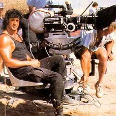 Sly on the set of Rambo III