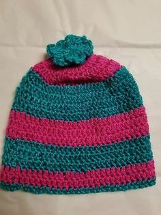 ef6969a9370 New Handmade Women s Pink Turquoise Knitted Beanie hat one size Pink  Turquoise