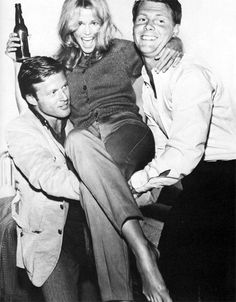 """Robert Redford, Jane Fonda and James Fox celebrating the final day of filming """"The Chase""""(1966)"""